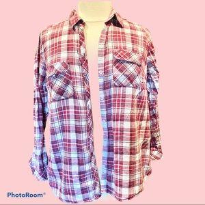 1X Cotton plaid light weight flannel shirt reds